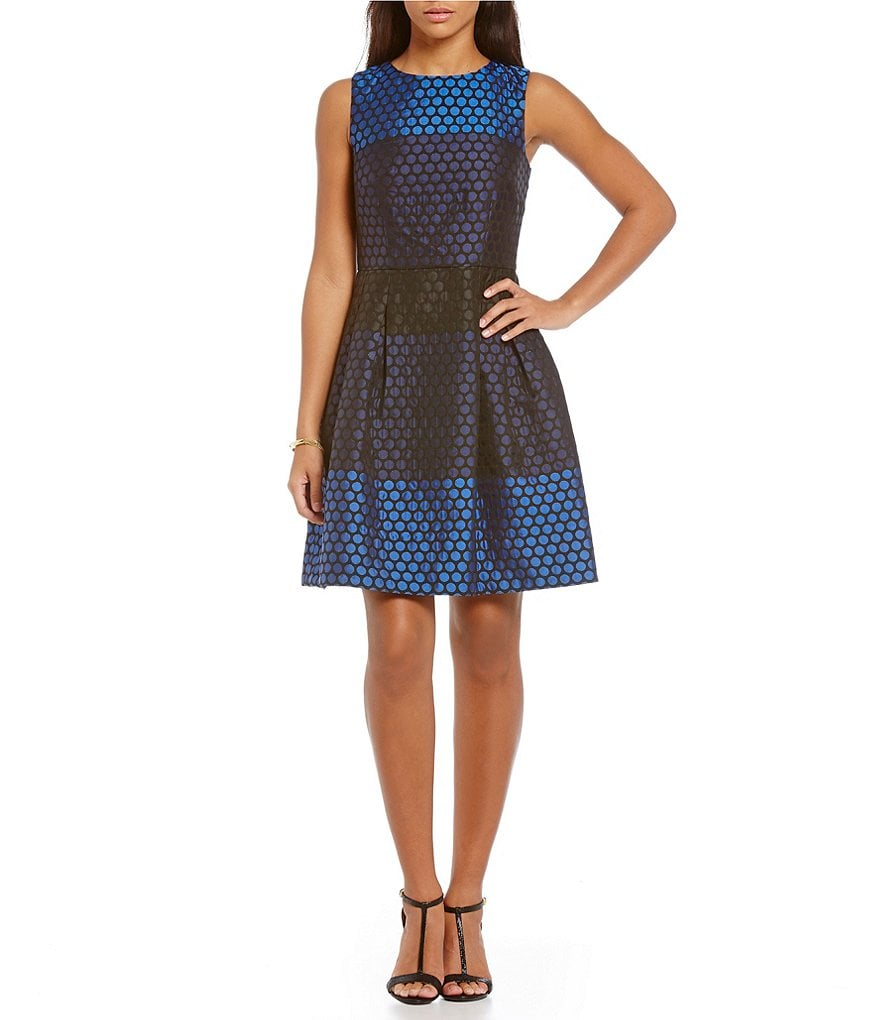 Donna Ricco Dot Jacquard Fit-and-Flare Sleeveless Dress
