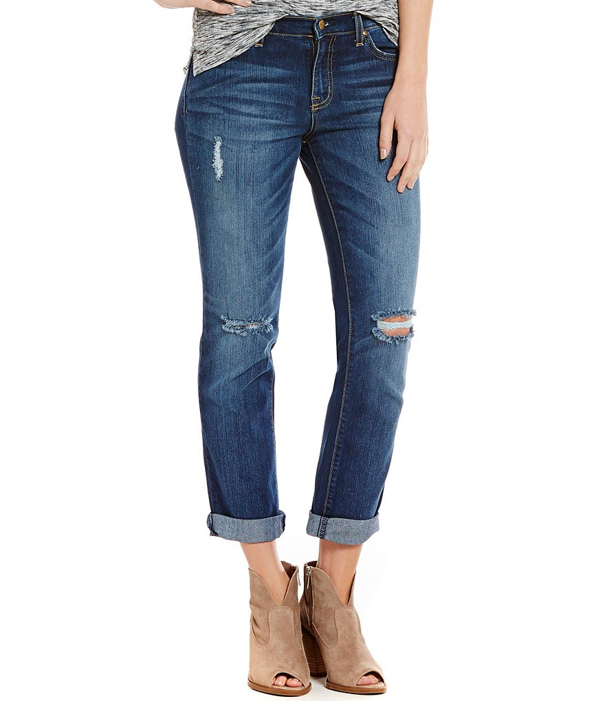 Jessica Simpson Mika Slim Slouch Destructed Boyfriend Jeans