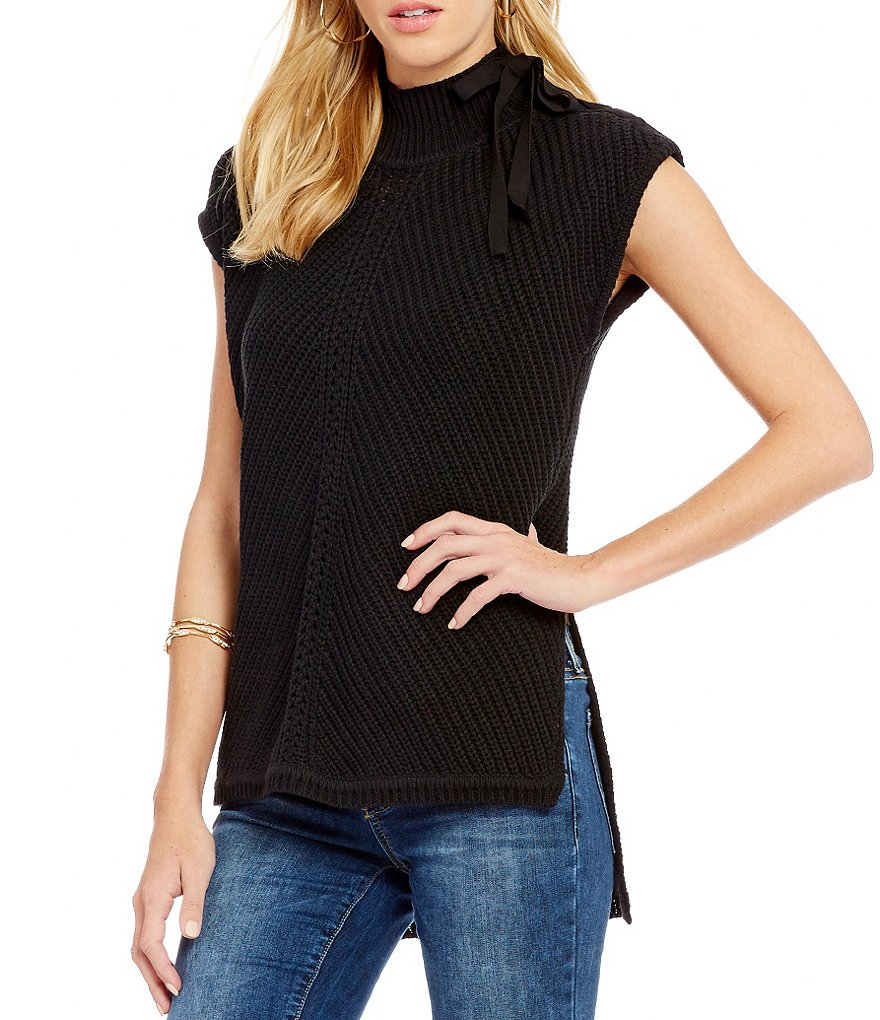 Jessica Simpson Elin Lace-up Mock Neck High-Low Sleeveless Sweater
