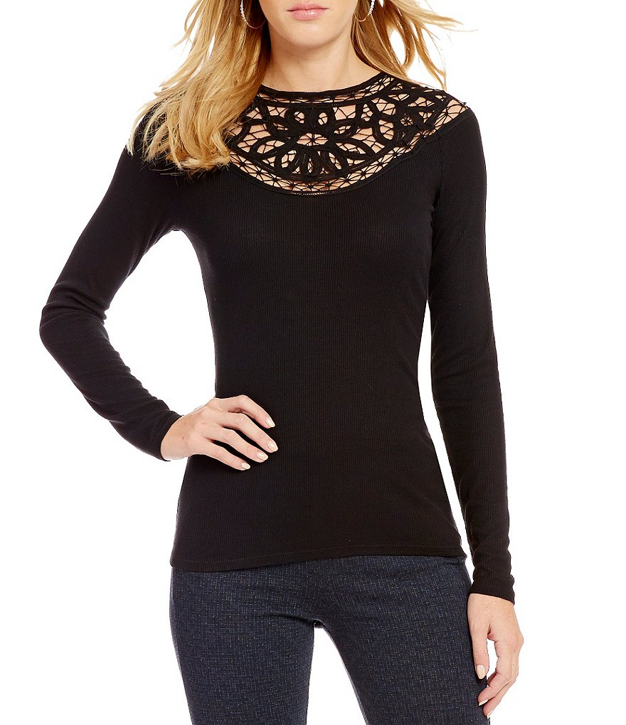 Jessica Simpson Adora Long-Sleeve Crochet Lace Top