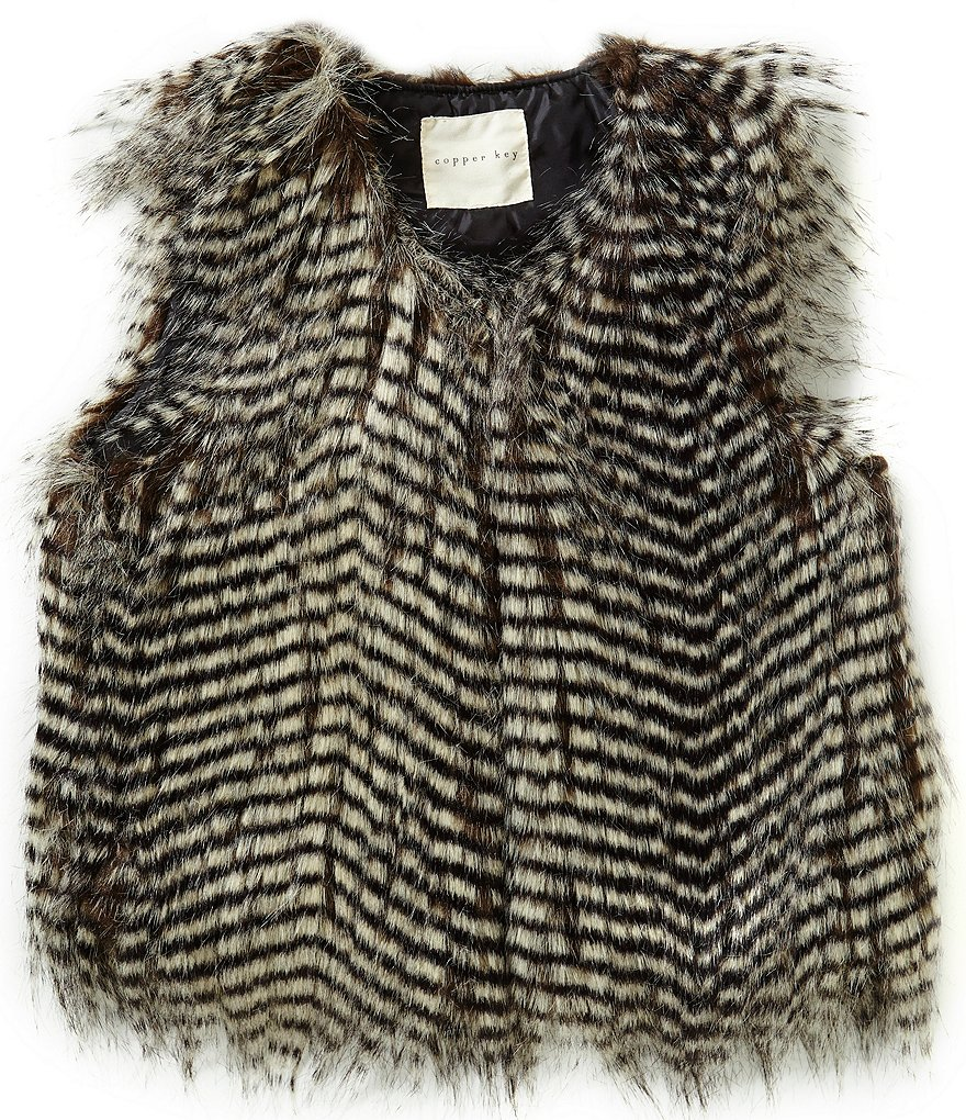 Copper Key Big Girls 7-16 Faux-Fur Striped Vest