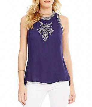 Jessica Simpson Patxi Embroidered Crepe Sleeveless Top