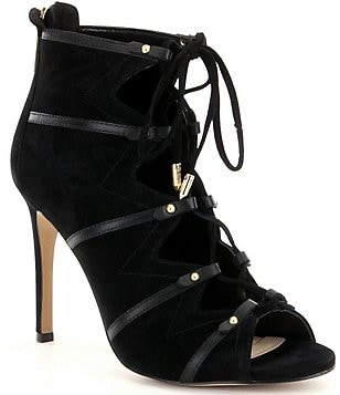 Karl Lagerfeld Paris Caine Ghillie Peep-Toe Booties