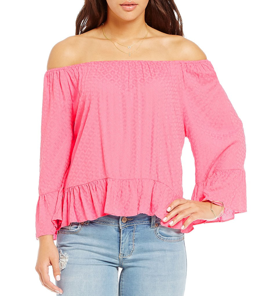 Copper Key Off-The-Shoulder Ruffle-Sleeve Peasant Blouse