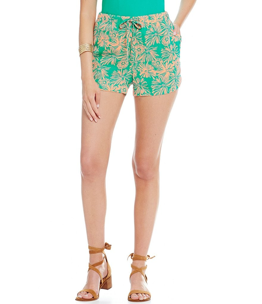 Copper Key Floral-Printed Soft Shorts