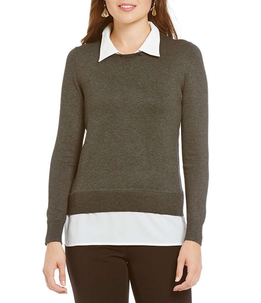 Investments With Collar and Shirttail Hem Long Sleeve Solid Top