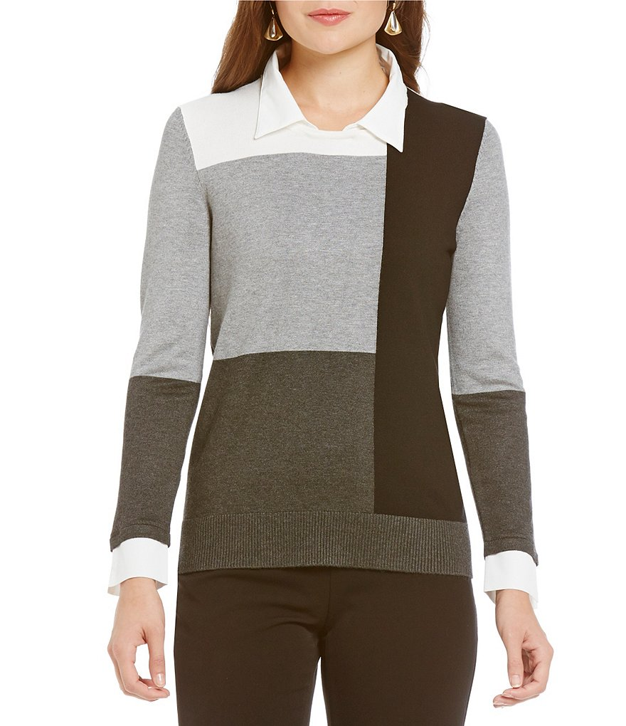 Investments Long Sleeve Colorblock With Collar Top