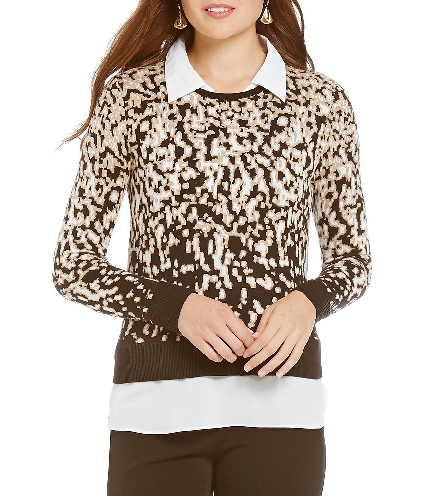 Investments With Collar and Shirttail Hem Long Sleeve Point Collar Patterned Top
