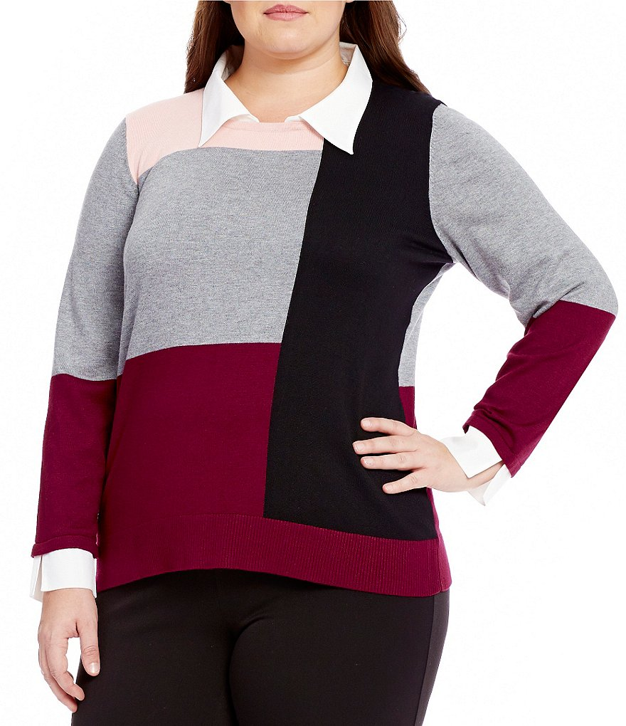Investments Plus With Collar and Shirttail Hem Long Sleeve Colorblock Sweater