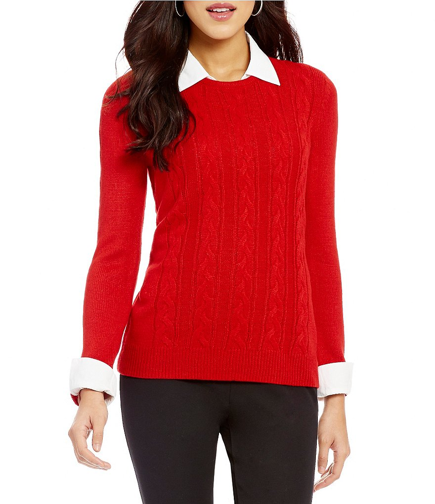 Investments Long Sleeve Cable Knit Point Collar Neck Sweater