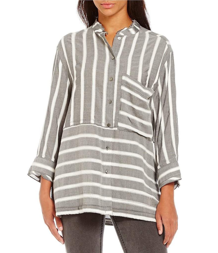 John Mark Woven V-Neck 3/4 Sleeve Striped Novelty Top