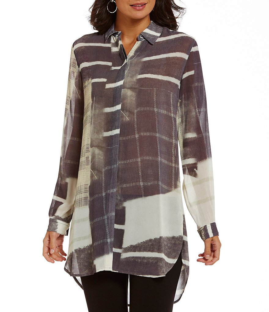 John Mark Printed Long Roll-Tab Sleeve Button-Front Duster Blouse