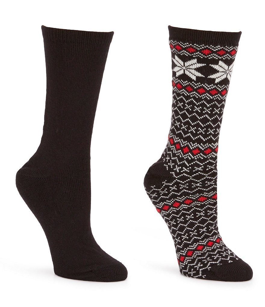 HUE Fairisle-Tipped Boot Socks 2-Pack