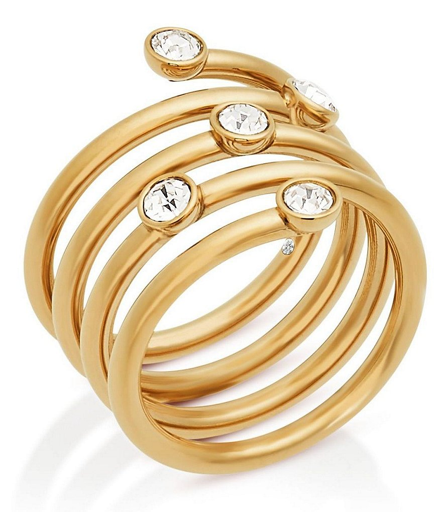 Michael Kors Pavé Stainless Steel Spiral Ring