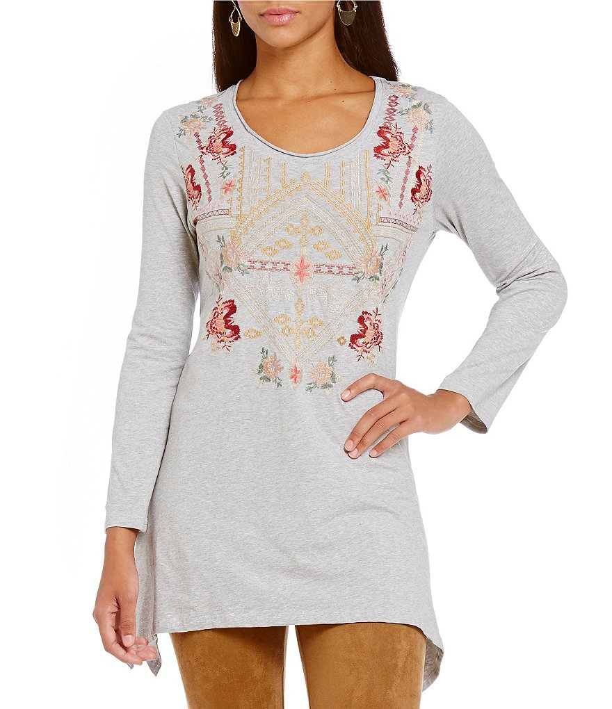 James Bryan Embroidered Long Sleeve Tunic