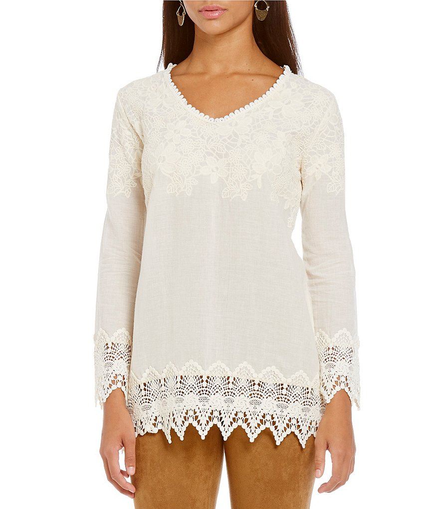 James Bryan Crochet Hem V-Neck Blouse