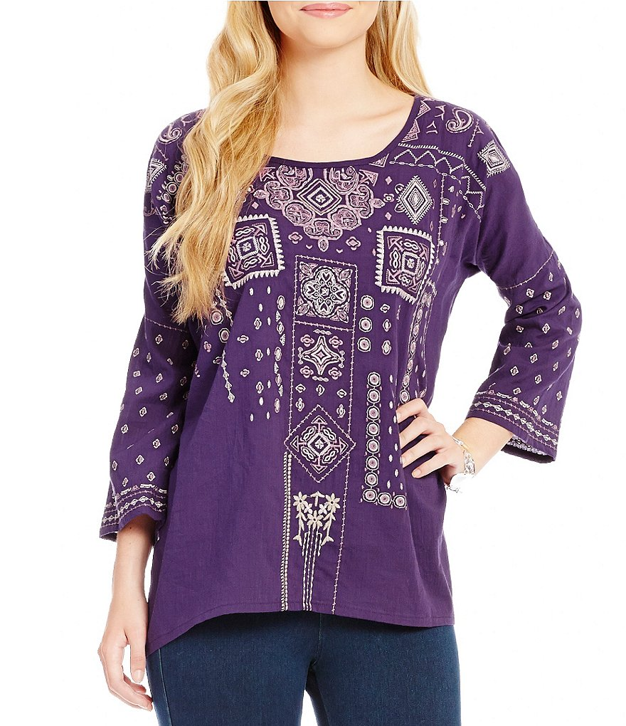 James Bryan Front Embroidered Long Sleeve Scoop Neck Tunic