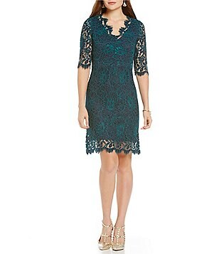Donna Ricco Scalloped Lace Sheath Dress