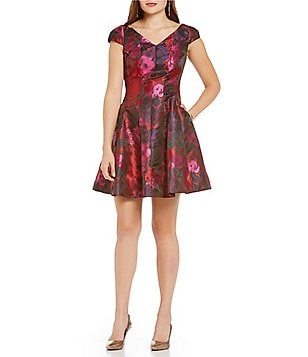 Donna Ricco Floral Cap Sleeve Fit-and-Flare Dress