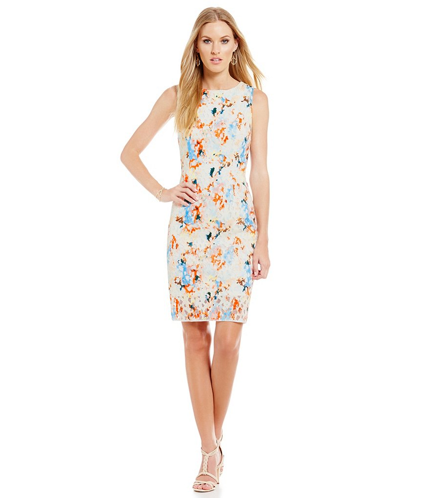 Antonio Melani Amal Printed Scuba Sheath Dress