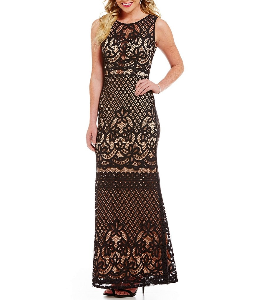Jodi Kristopher Sleeveless Illusion-Yoke Patterned Lace Long Dress