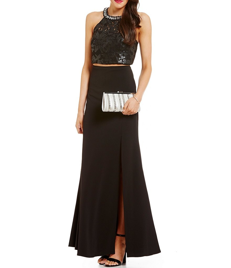 Sequin Hearts High-Neck Sequin Mesh Long Two-Piece Dress