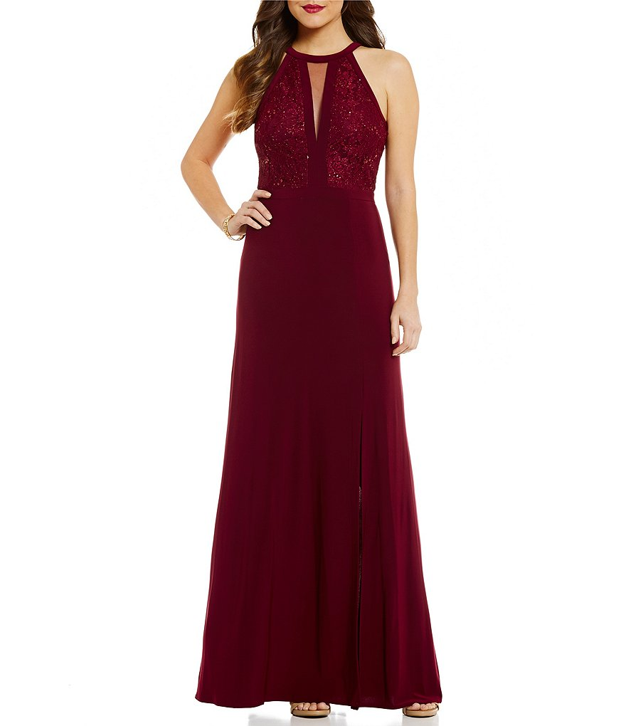 Morgan & Co. Sequin Lace Bodice High Neckline Long Dress