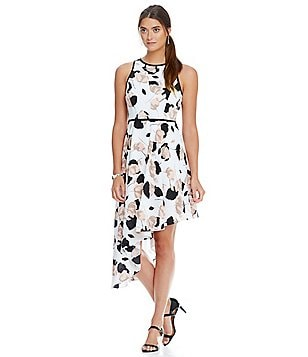 Katherine Kelly Hallie Printed Asymmetrical Hi-Low Hem Sleeveless Dress