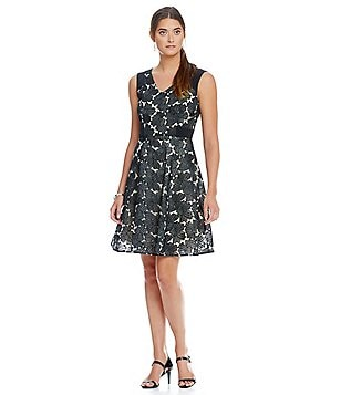 Katherine Kelly Cassidy Lace Embroidered Organza Sleeveless Dress