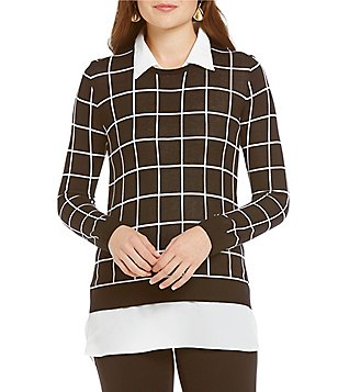 Investments Petite With Collar and Shirttail Hem Long Sleeve Grid Print Sweater