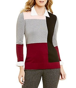 Investments Petites Collar Neck Long Sleeve Colorblock Sweater