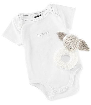 Mud Pie Blessed Baby Bodysuit and Crocheted Lamb Ring Rattle Set