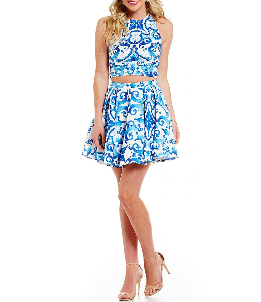 Glamour by Terani Couture Scroll Print Two-Piece Dress