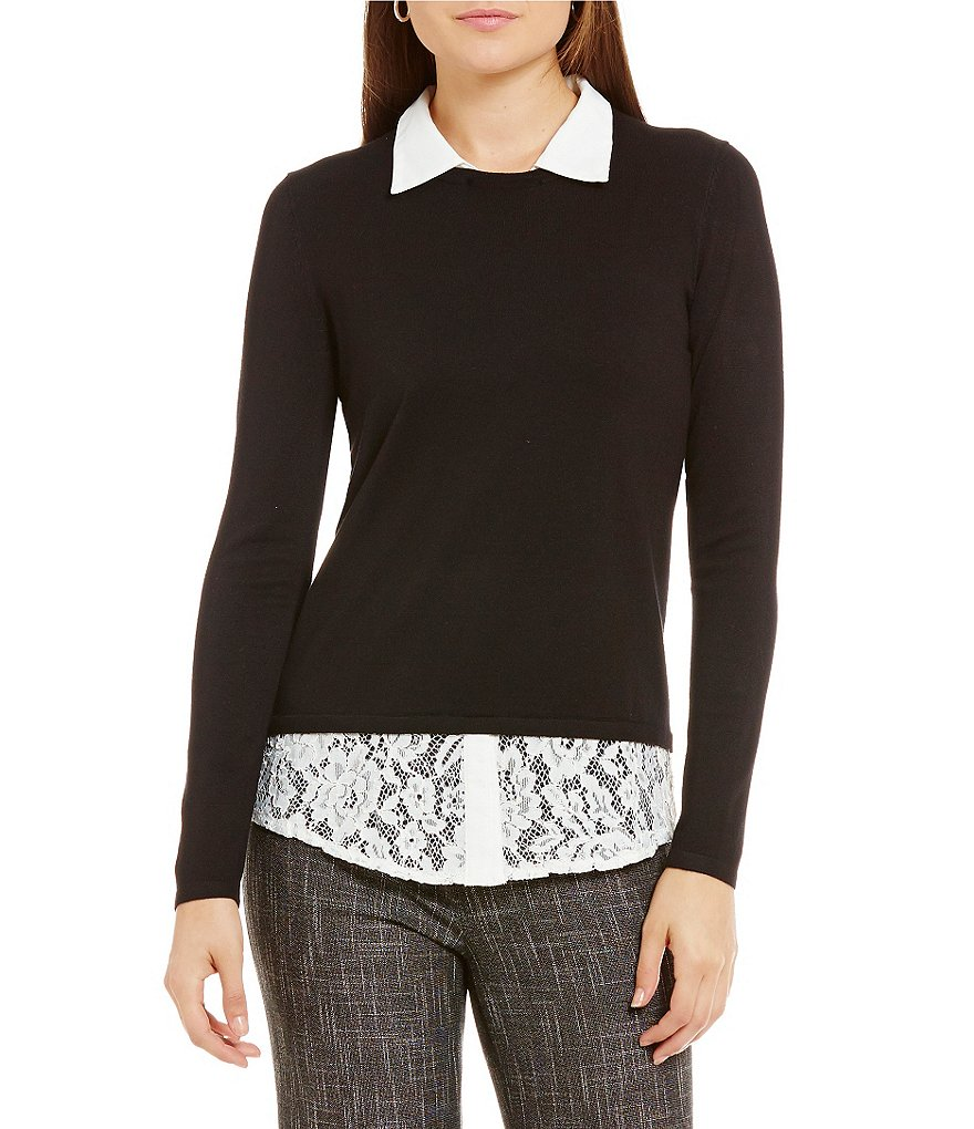 Investments Petites Long Sleeve Lace With Collar and Shirttail Hem Sweater Top