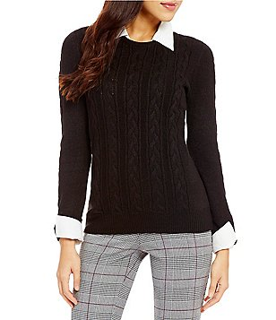 Investments Petite Long Sleeve Cable Knit Twofer Top