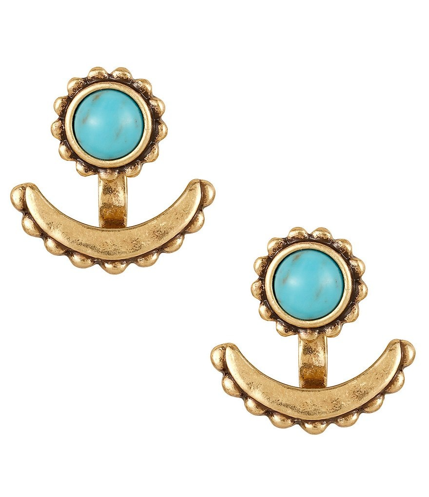 Lucky Brand Semi-Precious Turquoise Tribal Ear Jacket Earrings