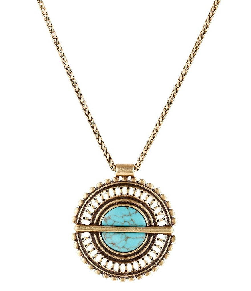 Lucky Brand Openwork Turquoise Pendant Necklace
