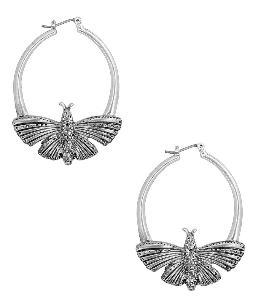 Lucky Brand Pavé Butterfly Hoop Earrings