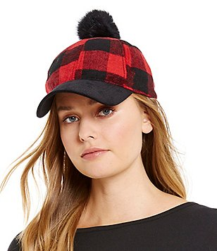 Anna & Ava Buffalo Plaid Baseball Cap with Fur Pom