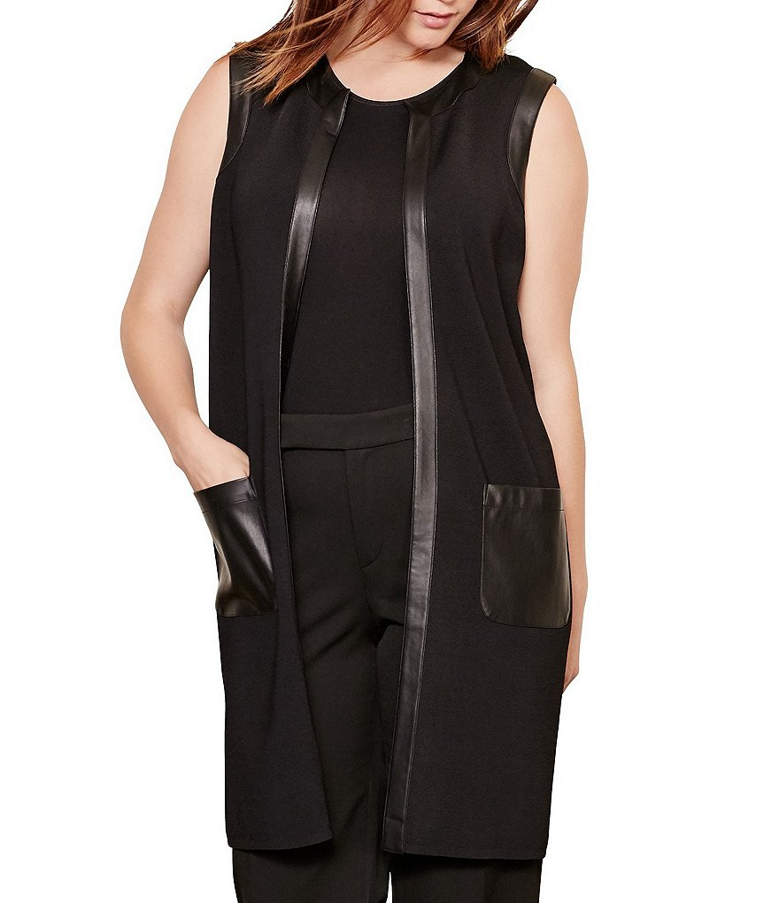 Lauren Ralph Lauren Plus Faux Leather Trim Vest