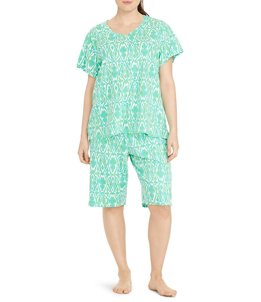 Lauren Ralph Lauren Plus Printed Jersey Knit Short Sleeve Top and Bermuda Shorts Pajama Set