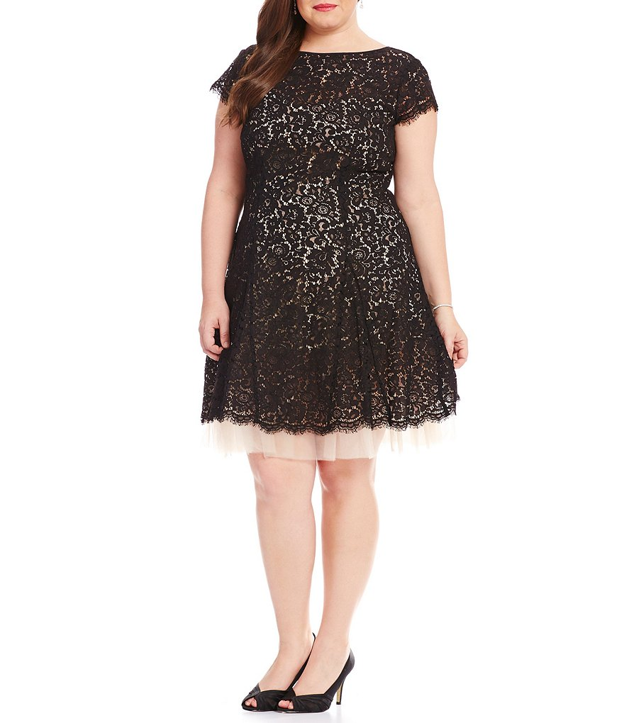 Eliza J Plus All Over Lace Boat Neck Short Sleeve Fit-And-Flare Dress