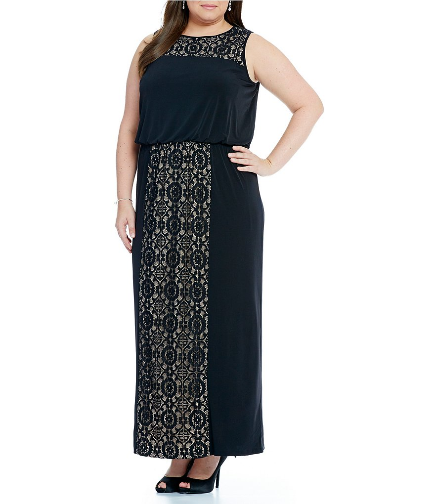 London Times Plus Lace Blouson Maxi Dress