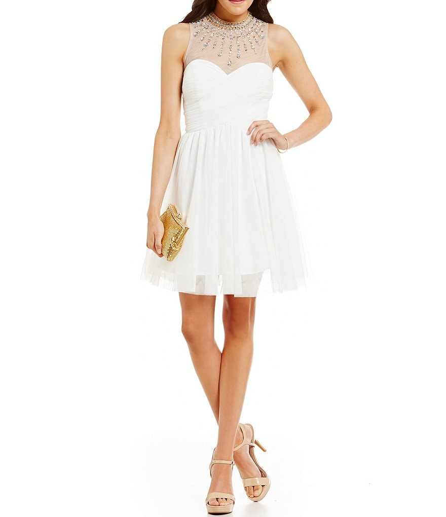 Blondie Nites Beaded-Illusion-Neck Social A-line Dress