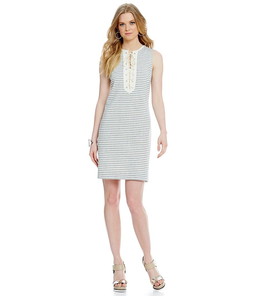Cremieux Morgan Striped Lace-up Dress