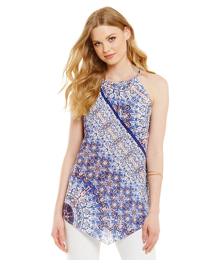 Cremieux Judy Printed Halter Neck Georgette Blouse