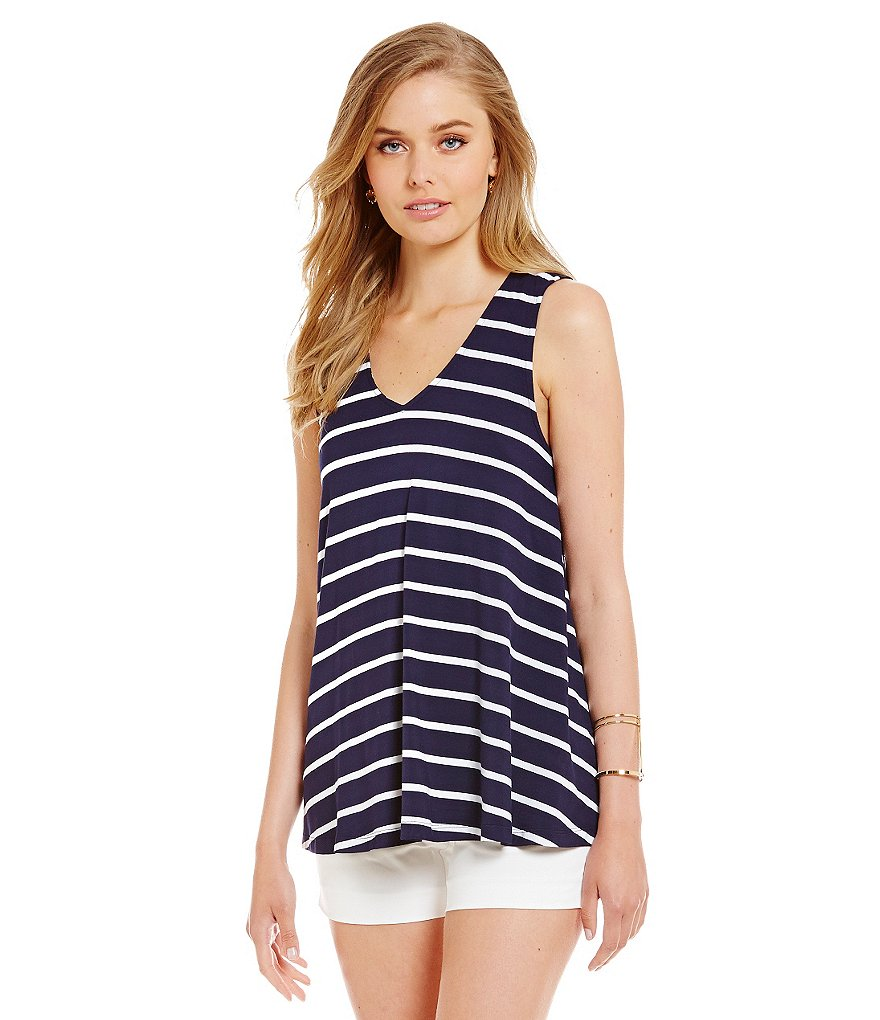 Cremieux Everly Stripe Knit Sleeveless V-Neck Top