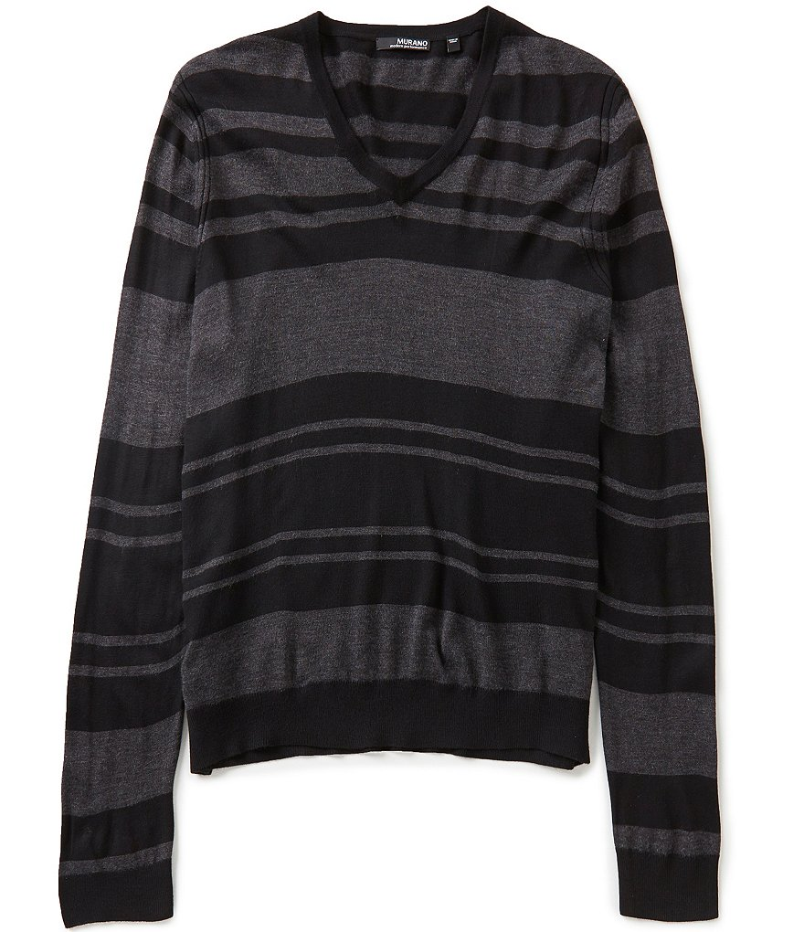 Murano Performance V-Neck Horizontal-Stripe Sweater