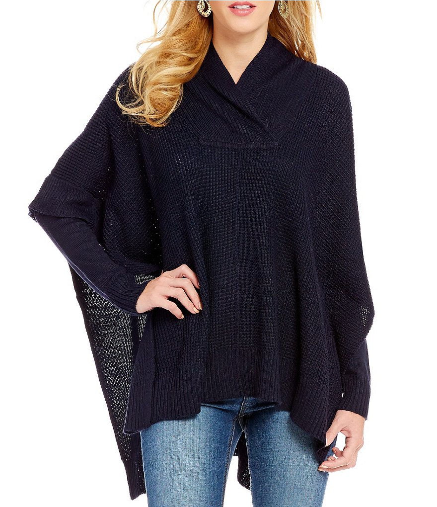 RD Style Cross Over Shawl Collar Rib Knit Sweater Poncho