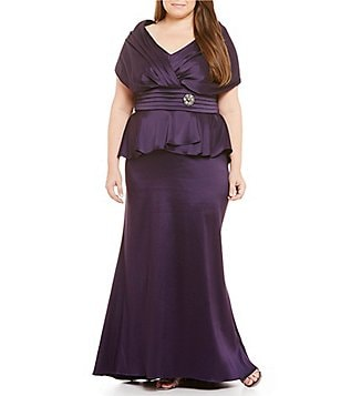 Ignite Evenings Plus Portrait-Collar Mock 2-Piece Gown
